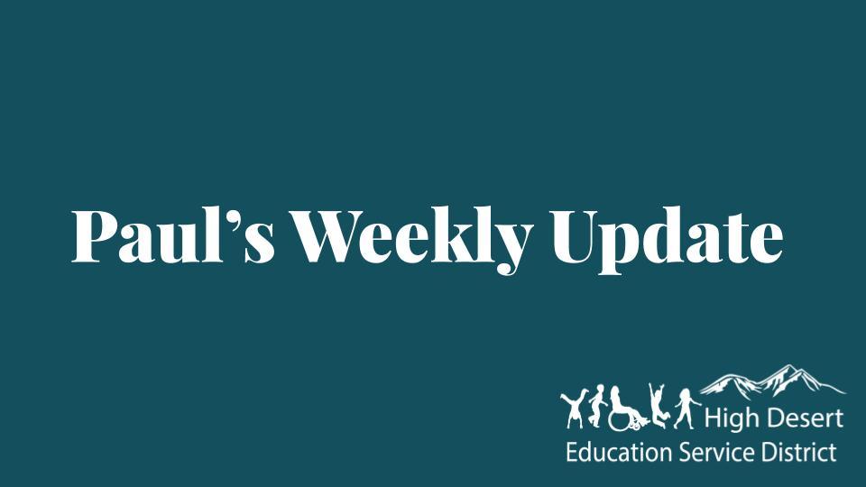 Paul's Update — Week of April 27